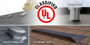Active Ventilation Products on various roofs with the UL Logo