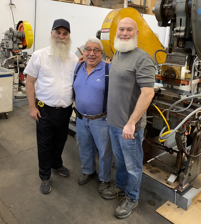 Billy Silva, Martin And Ethan Kolt In The Factory For Billy's Retirement